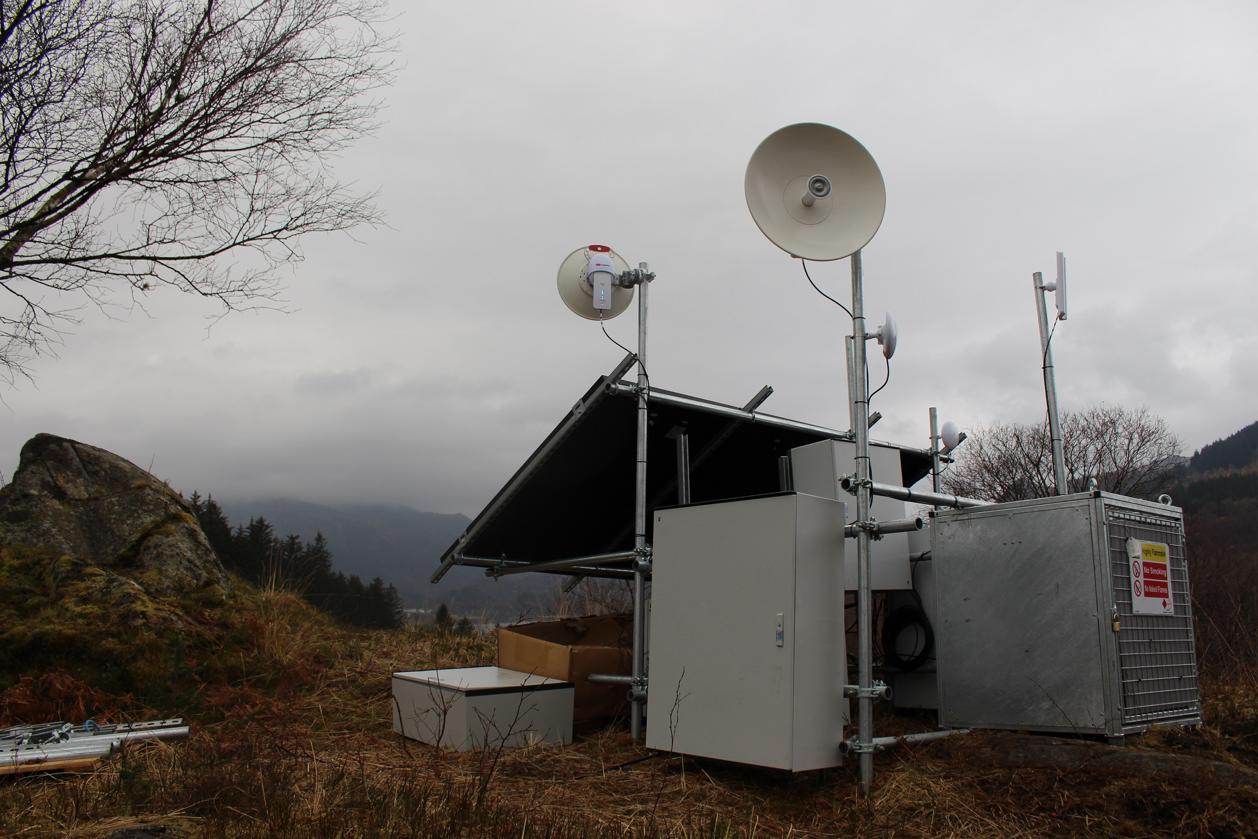 solar and wind broadband Wi-Fi technology located in the hills just outside Brig O'Turk