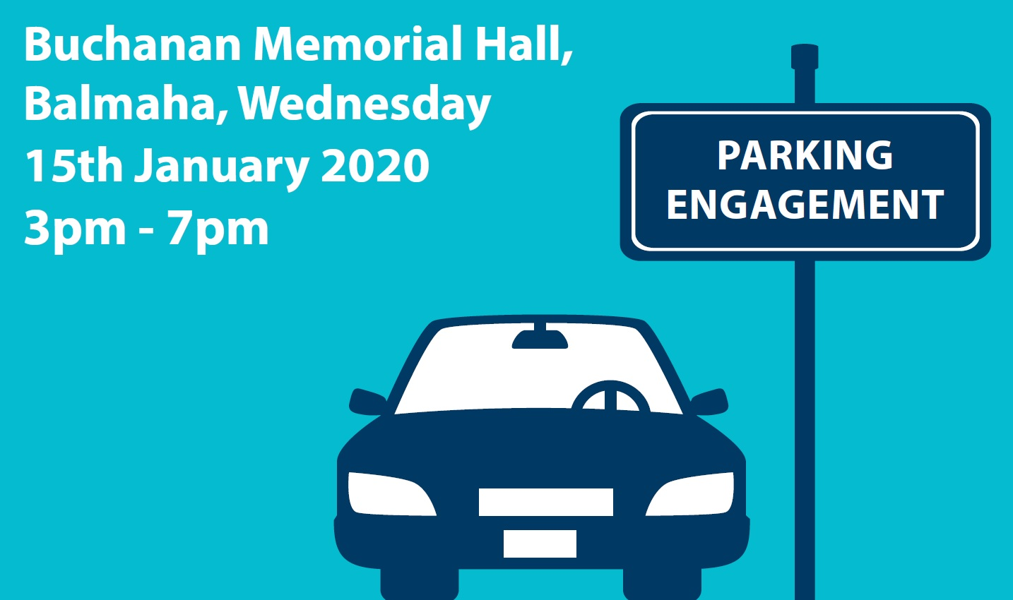 Parking sign for Buchanan Memorial Hall