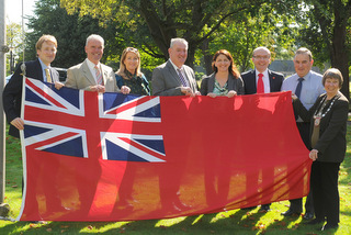 Provost Councillors and Chief Executive with Flag