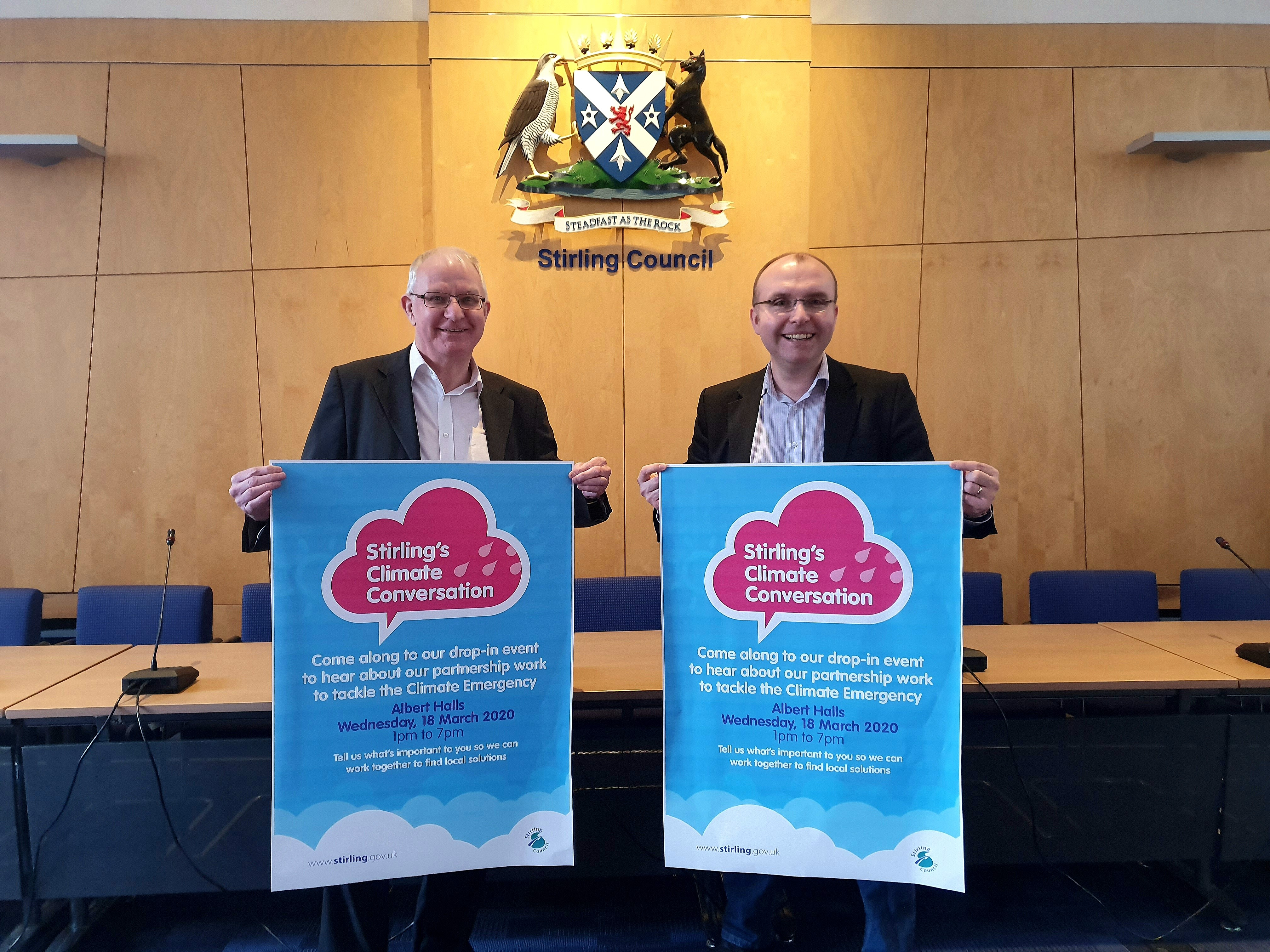 Cllrs Thomson and Gibson promote the Climate Survey and Drop-in event at the Council chambers.
