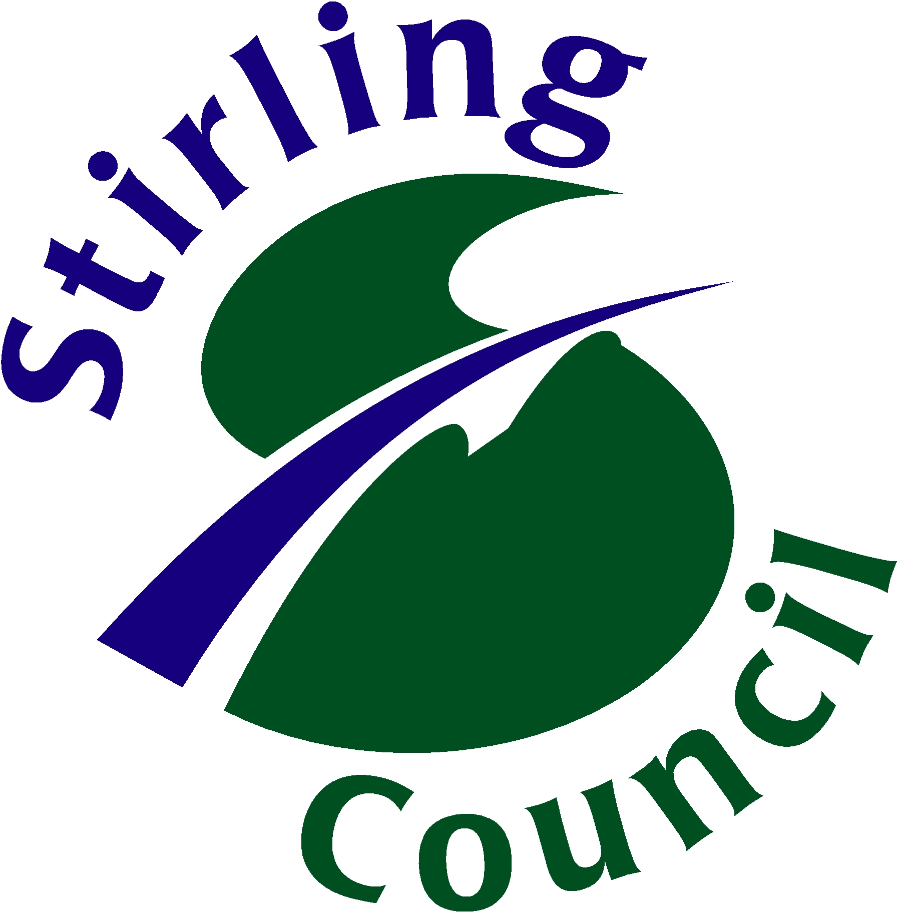 Stirling Council's logo in green, white and purple