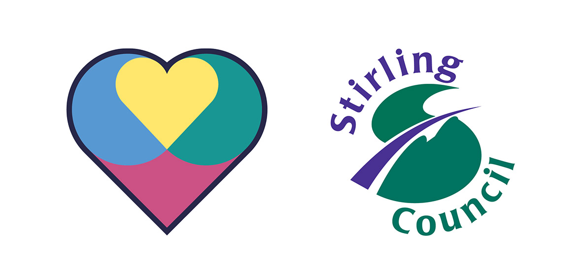 The Promise heart logo with Stirling Council logo