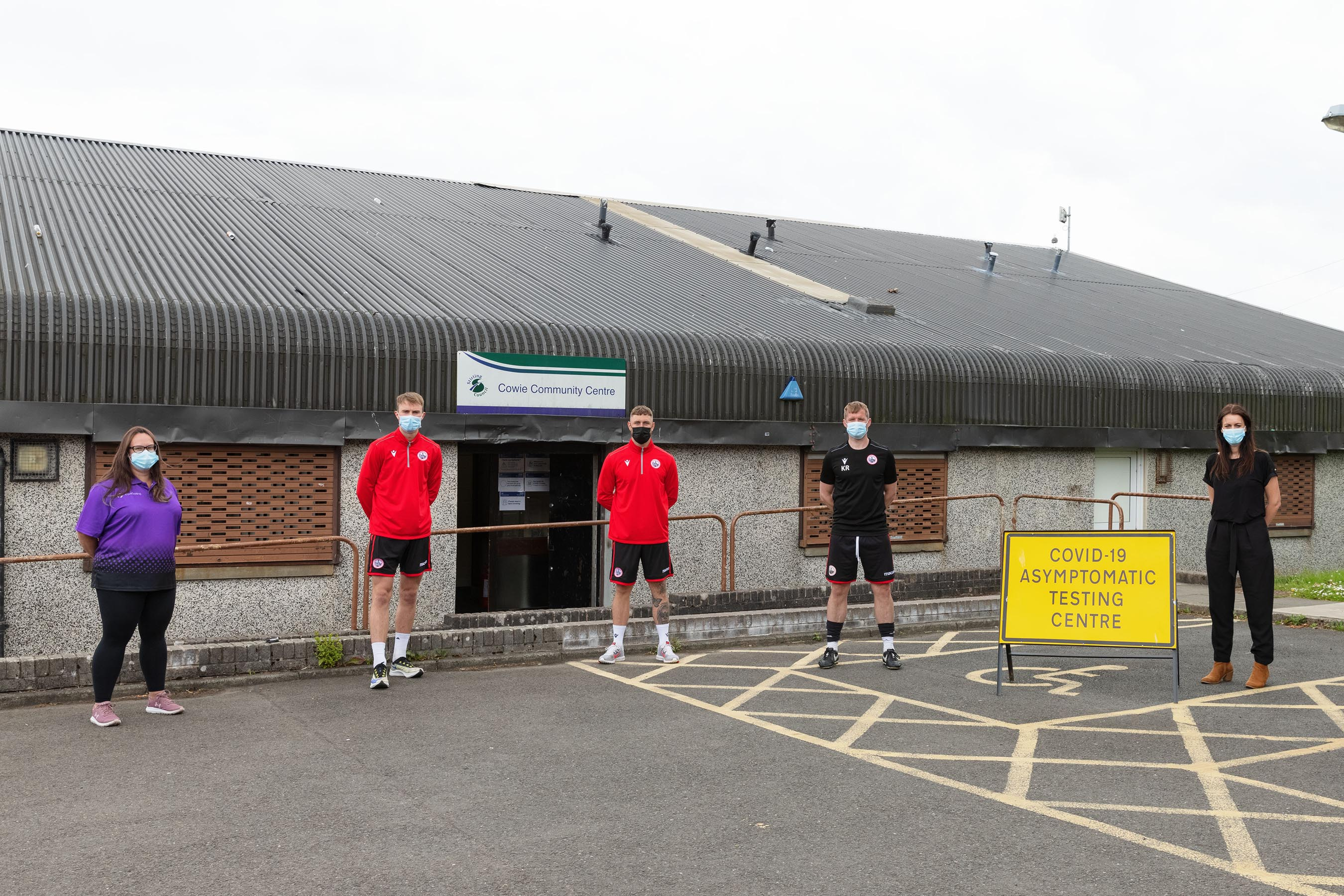 Active Stirling Staff and Stirling Albion FC team members at an asymptomatic testing site in Cowie.