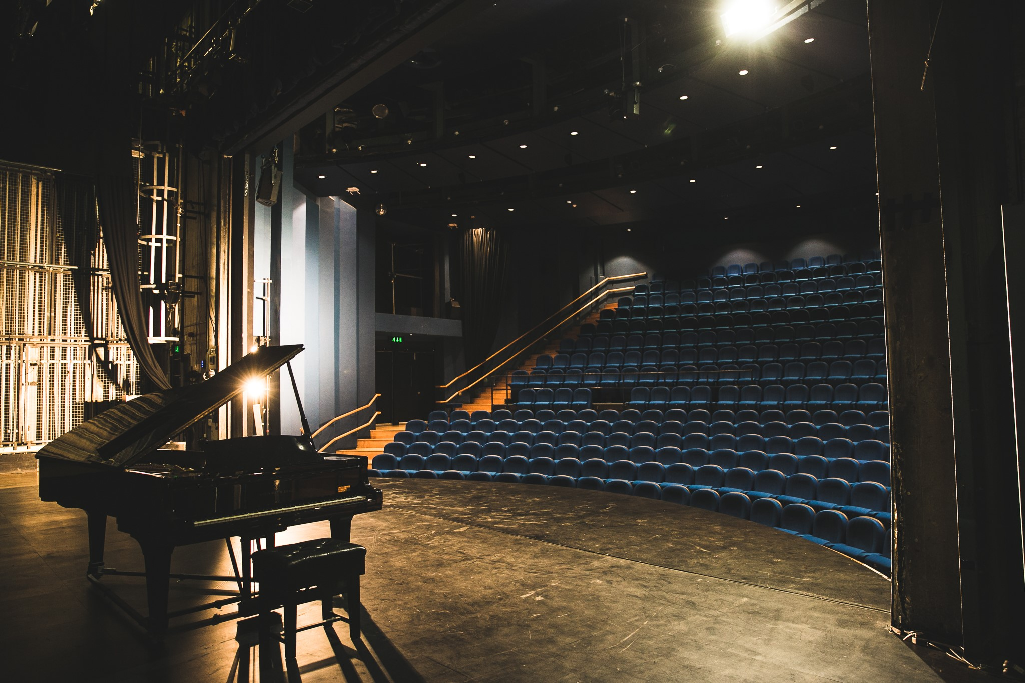 Picture of piano on stage at MacRobert Arts Centre