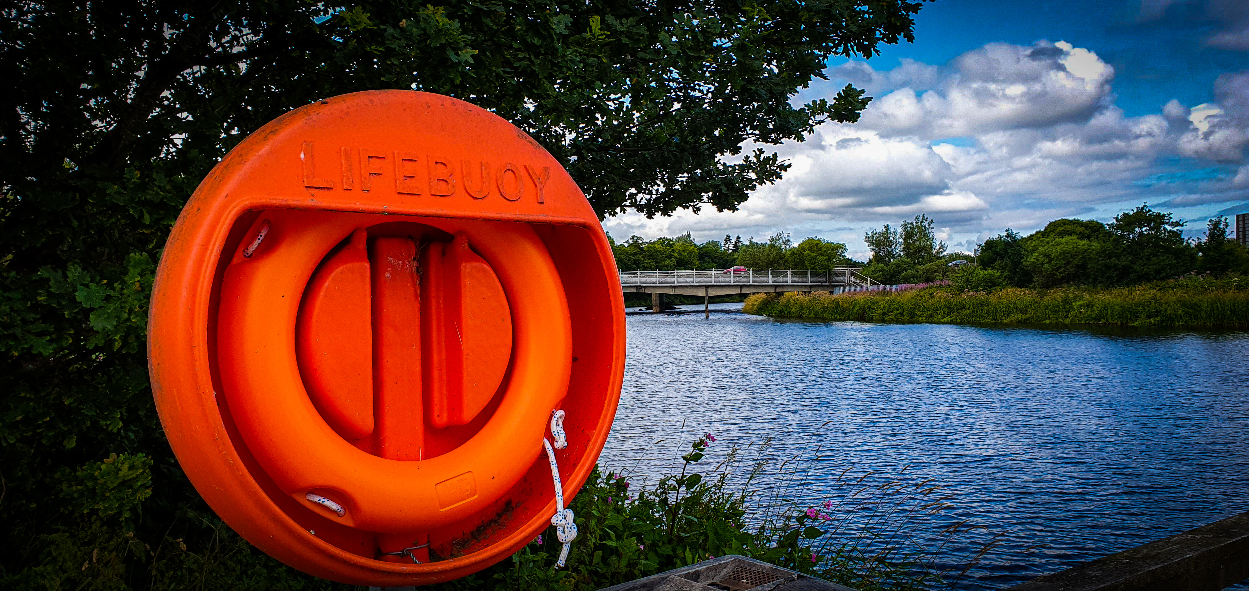 A Life Buoy ring with a body of water in the background