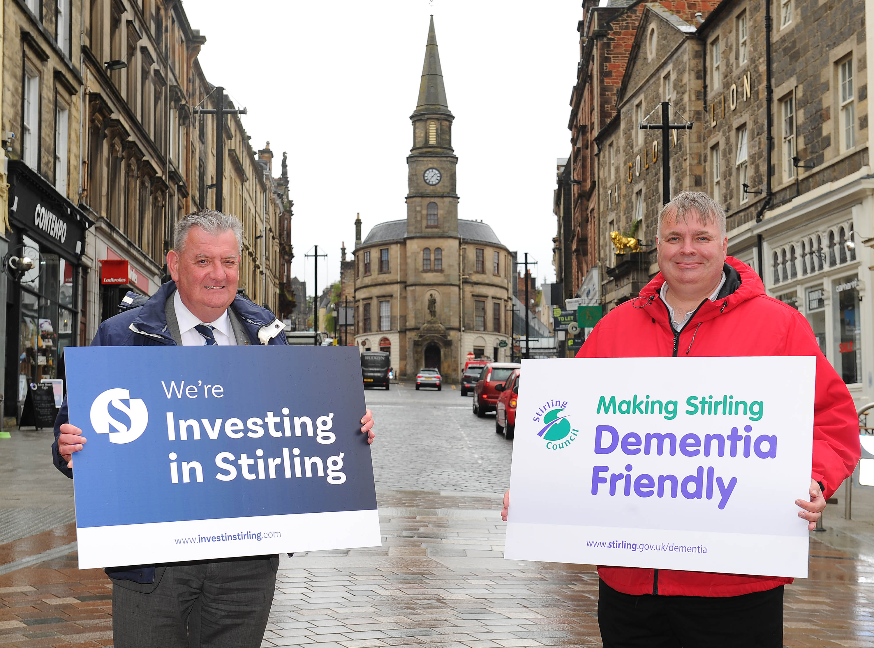 Councillors Scott Farmer and Chris Kane promoting Dementia Friendly investment in Stirling City Centre
