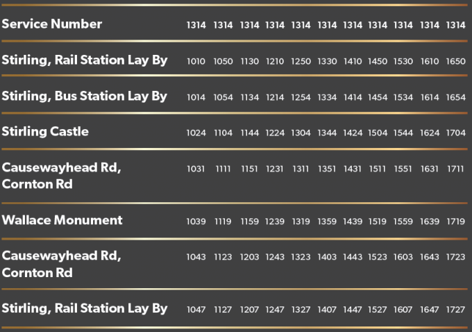 1314 Bus Times