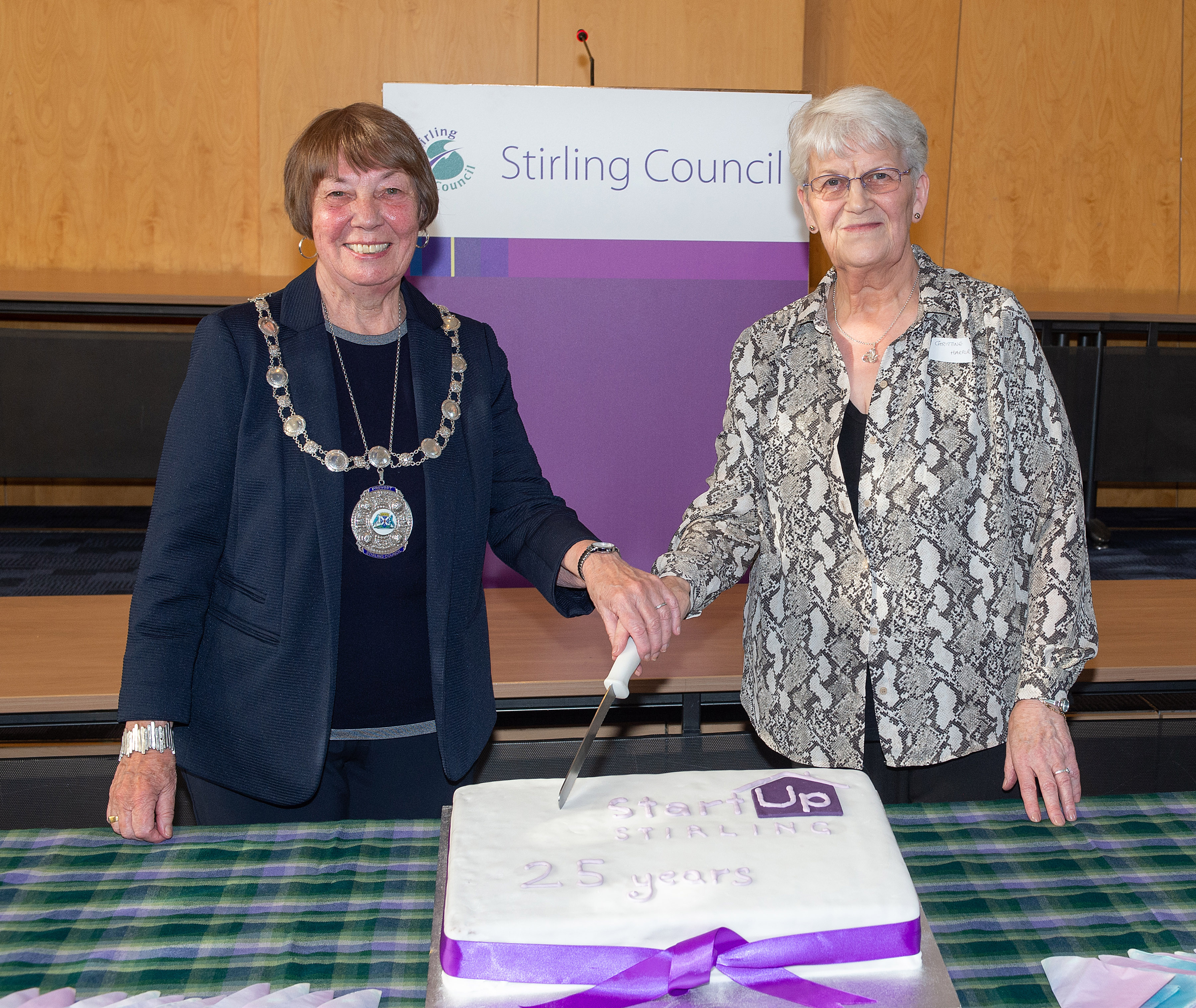 Provost Christine Simpson and Start Up Stirling Volunteer, Christine Harper
